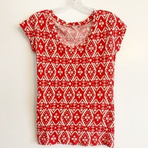 J. Crew Red Aztec T-Shirt
